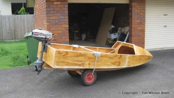 Plywood boat ready for the water
