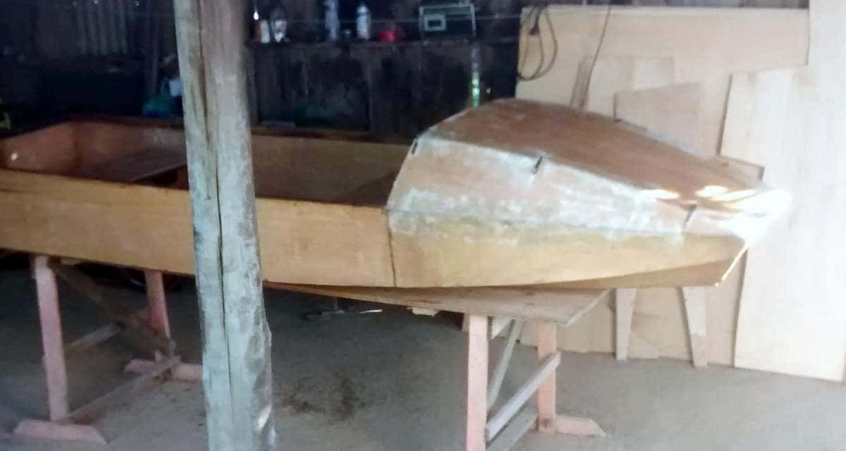 "1st small boat ""Noosa"" nearing completion"