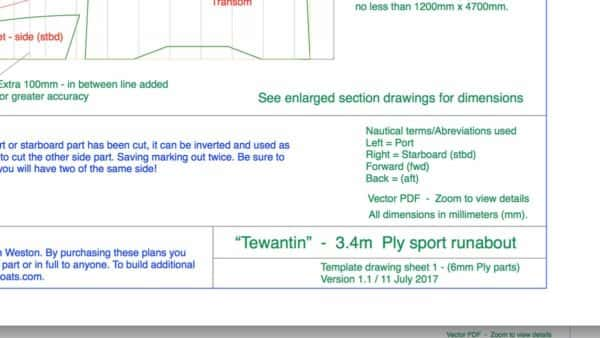 Template plans - plywood small boat Tewantin