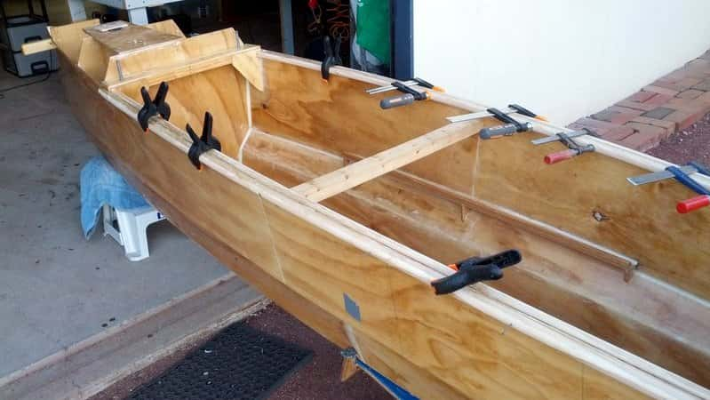 clamping the handrails - wooden boat